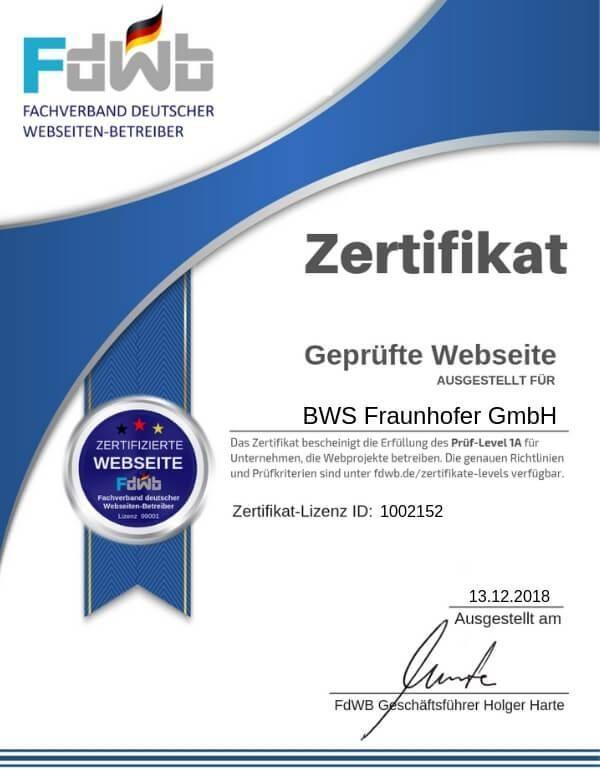 FdWB-Kontroll-Zertifikat-1002152_BWS Fraunhofer GmbH