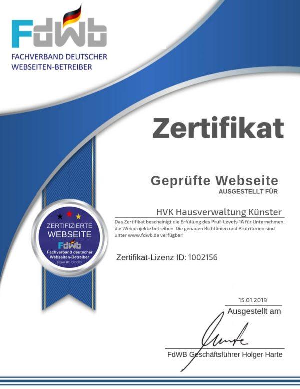 FdWB-Kontrollzertifikat_1002156_HVK-Hausverwaltung-Künster